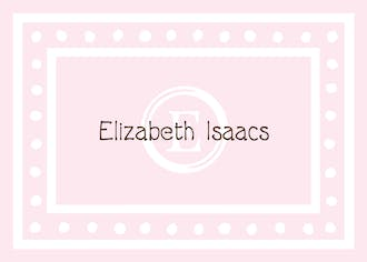 White Dotted Border Pink Flat Enclosure Card