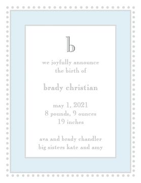 Antique Bead Border Blue & Silver  Birth Announcement