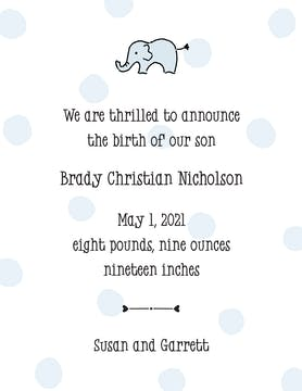 Big Dots Blue  Birth Announcement