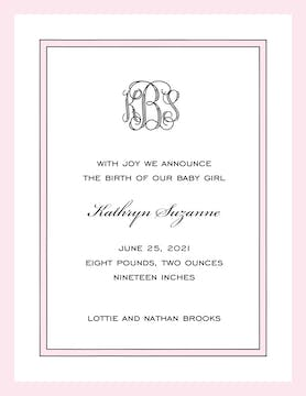 Simple Border & Edge Pink & Black  Birth Announcement