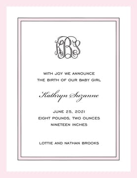 Simple Border & Edge Pink & Black  Birth Announcement