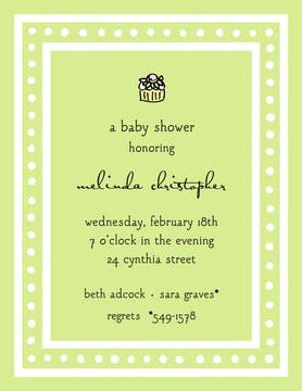 White Dotted Border Lime Invitation