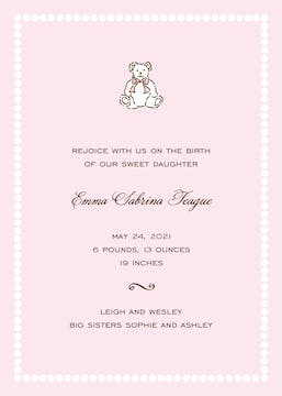 White Bead Border On Pink  Birth Announcement