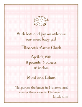 Linen Pink  Birth Announcement