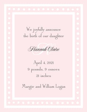 White Dotted Border Pink  Birth Announcement