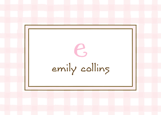 Gingham Pink Flat Enclosure Card
