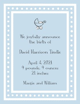White Dotted Border Blue  Birth Announcement