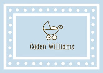 White Dotted Border Blue Flat Enclosure Card