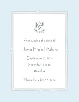 Vintage Frame Blue & Silver  Birth Announcement
