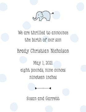 Big Dots Blue  Birth Announcement