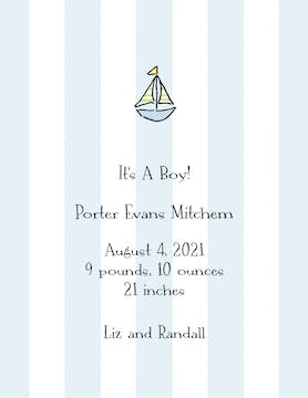 Classic Stripes Blue  Birth Announcement