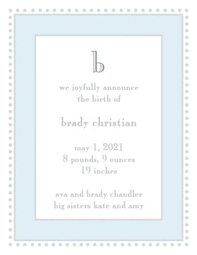 Antique Bead Border Blue & Silver  Birth Announcement