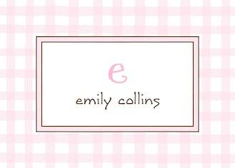 Gingham Pink Flat Enclosure Card