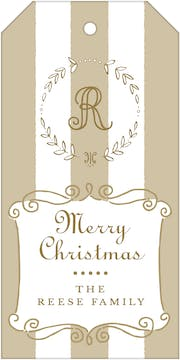 Classic Stripes Gold Hanging Gift Tag