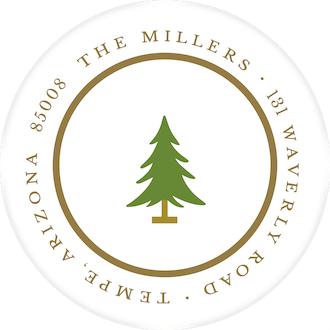 Simple White & Gold Round Return Address Label
