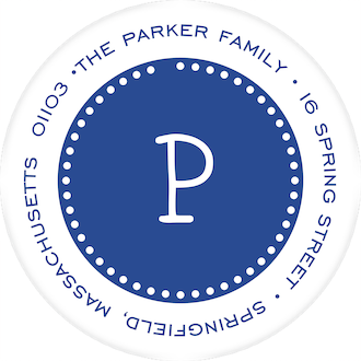 Dotted Border Dark Blue & White Round Return Address Label