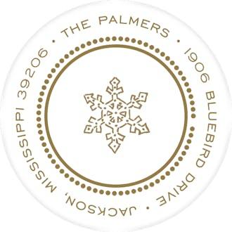 Beaded Border Gold On White Return Address Label