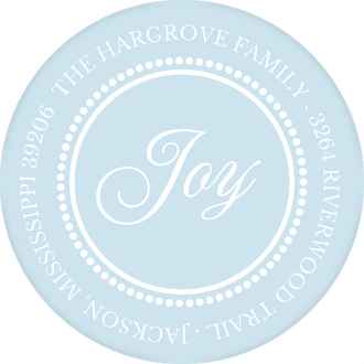 Beaded Border Light Blue Return Address Label