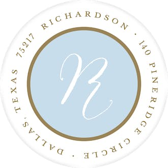 Simple Light Blue And Gold Round Return Address Label