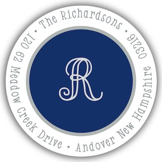 Simple Navy & Silver Round Address Sticker
