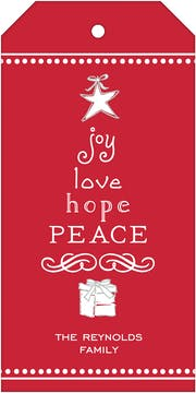 Joy, Love, Hope, Peace Red Hanging Gift Tag