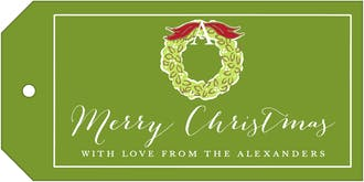 Wreath On Green Hanging Gift Tag