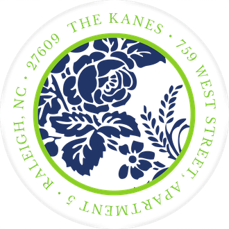 Navy Flourish Posh with Green Ink Round Address Label