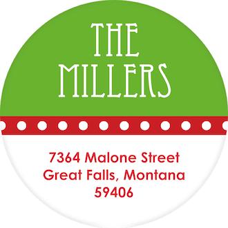 Holiday Band Green Round Address Sticker