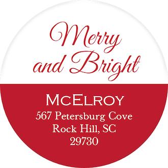 Merry and Bright Round Address Sticker