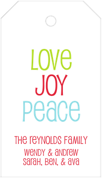 Love Joy Peace Hanging Gift Tag