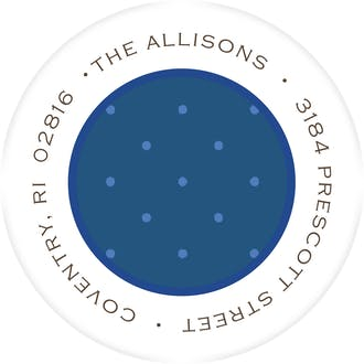 dots & more dots navy return address label
