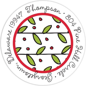 Holly & Berries Round Address Label