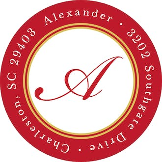 Etched Border Red Round Address Label