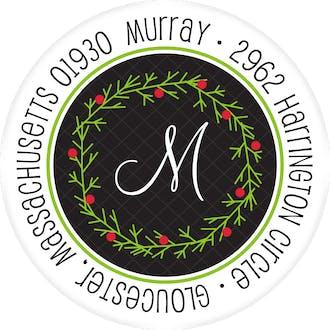 Wreath On Lattice Round Address Label