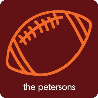 Football Maroon & Orange Personalized Coaster
