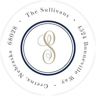 Tailored Monogram Navy Round Address Label