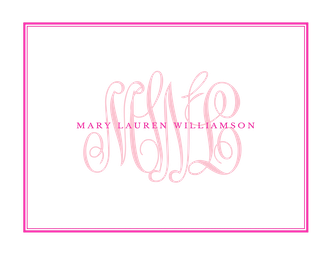Tailored Monogram Hot Pink Folded Note