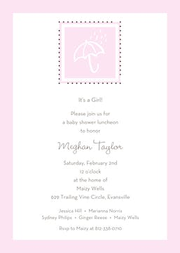 Shower of Blessings Baby Pink Invitation