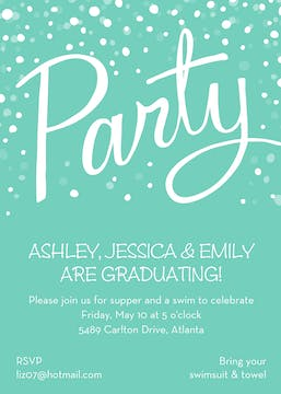 Party Turquoise Invitation