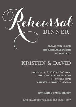 Charcoal Rehearsal Dinner Invitation