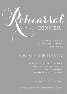 Silver Rehearsal Dinner Invitation