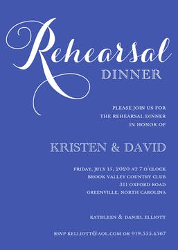 Cobalt Rehearsal Dinner Invitation