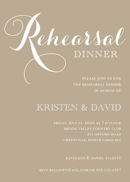 Tan Rehearsal Dinner Invitation