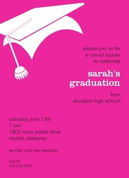 Graduation Hot Pink Invitation