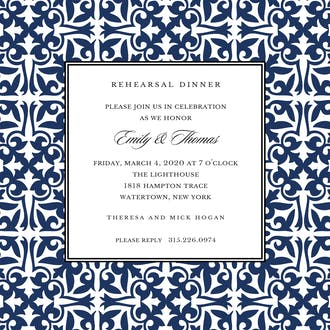 Pretty Pattern Navy Square Invitation