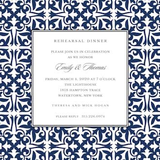 Pretty Pattern Navy Square Invitation