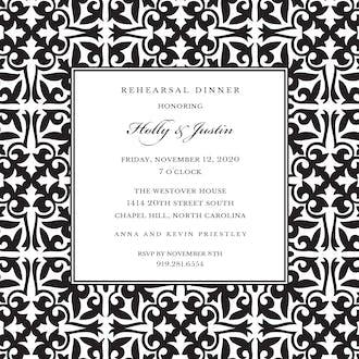 Pretty Pattern Black Square Invitation