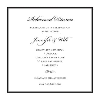Tailored Border Black Square Invitation