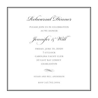 Tailored Border Black Square Invitation