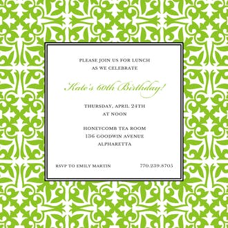 Pretty Pattern Grasshopper Square Invitation